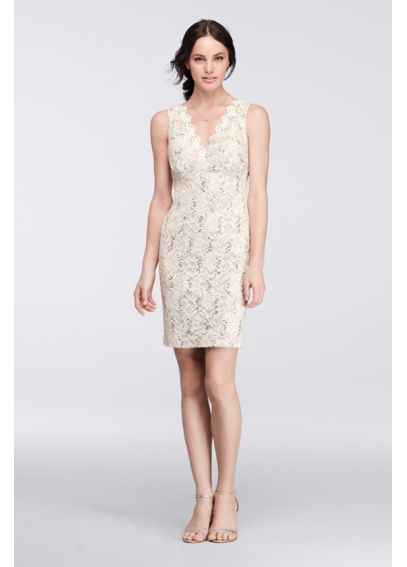 Sequin Lace Short Dress with Scalloped Open Back 21344