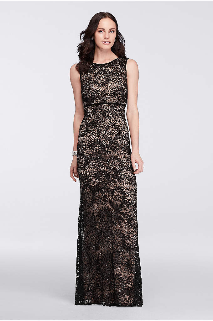 Long Sleeveless Sequin Lace Dress - Shimmering sequined lace drapes the length of this