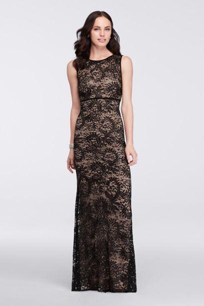 Long Sleeveless Sequin Lace Dress | David's Bridal