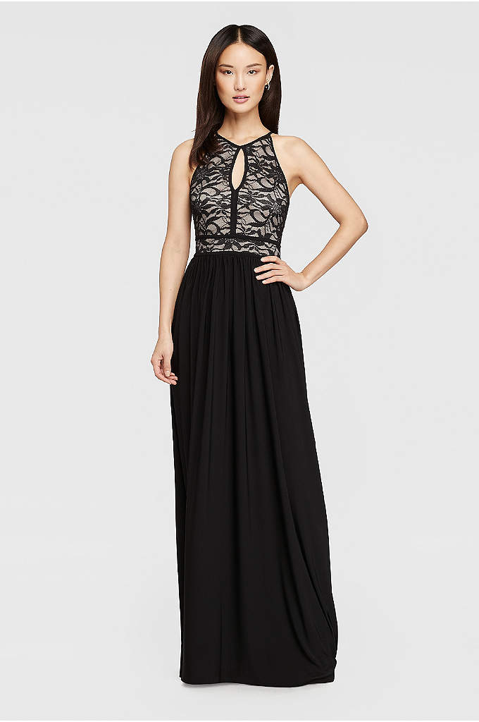 Lace Keyhole Halter Dress with Jersey Skirt - A breezy tie-back keyhole mirrors the front of