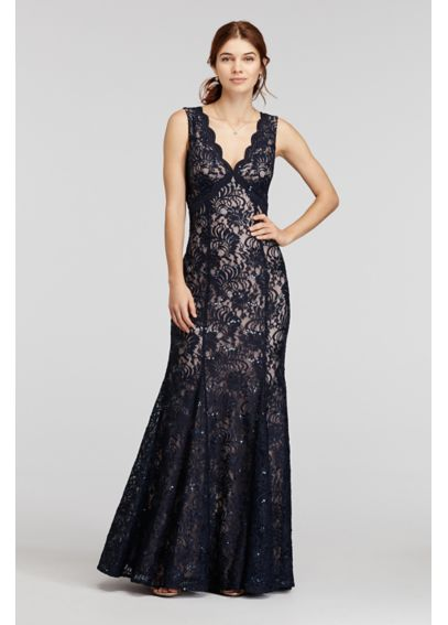 All Over Sequin Lace Dress with Open Back 21384