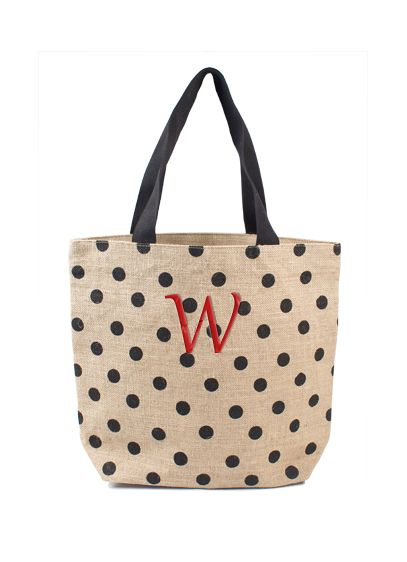 DB Exclusive Personalized Polka Dot Jute Tote Bag - Wedding Gifts & Decorations