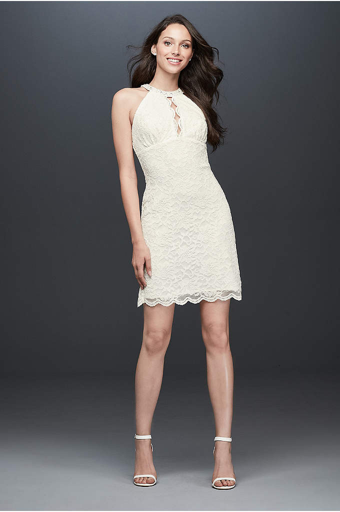 Short dress with beaded halter neckline davids bridal for Davids bridal beach wedding dresses
