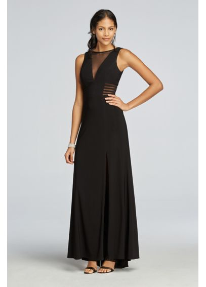Sleeveless Long Jersey Dress with Illusion V-Neck  21401