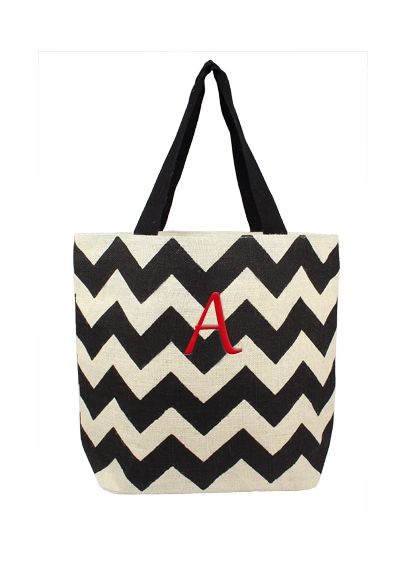 DB Exclusive Personalized Chevron Jute Tote Bag - Wedding Gifts & Decorations