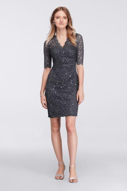 Short Lace Faux Wrap Dress | David's Bridal