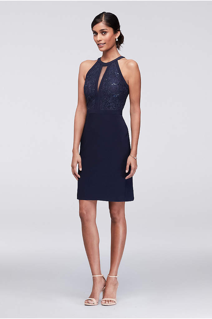 Glitter Lace Bodice Short Halter Dress - Make a statement in this fitted short dress