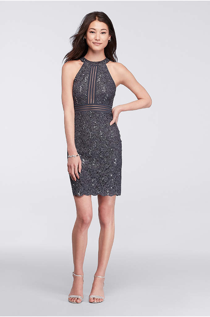 Short Sleeveless Lace Dress with Illusion Banding