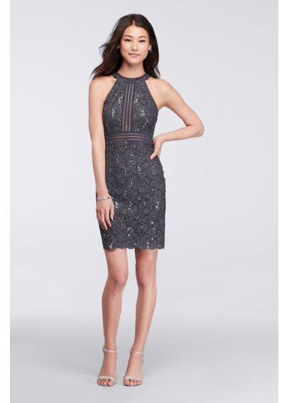 Short Sleeveless Lace Dress with Illusion Banding 21445