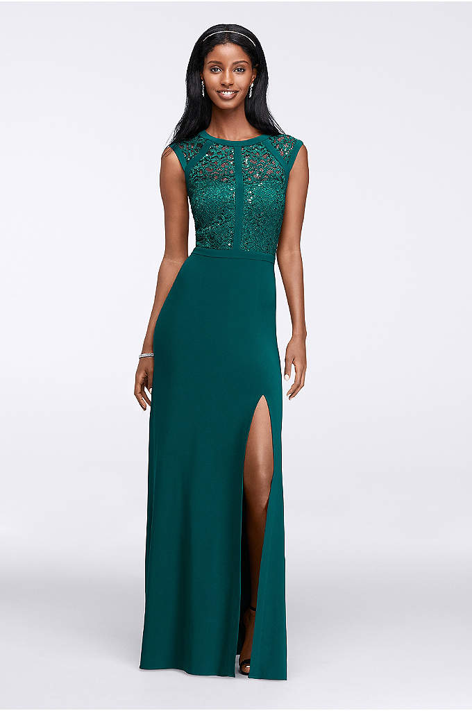 Banded Lace Cap-Sleeve Long Dress - The sequined lace bodice of this slim column
