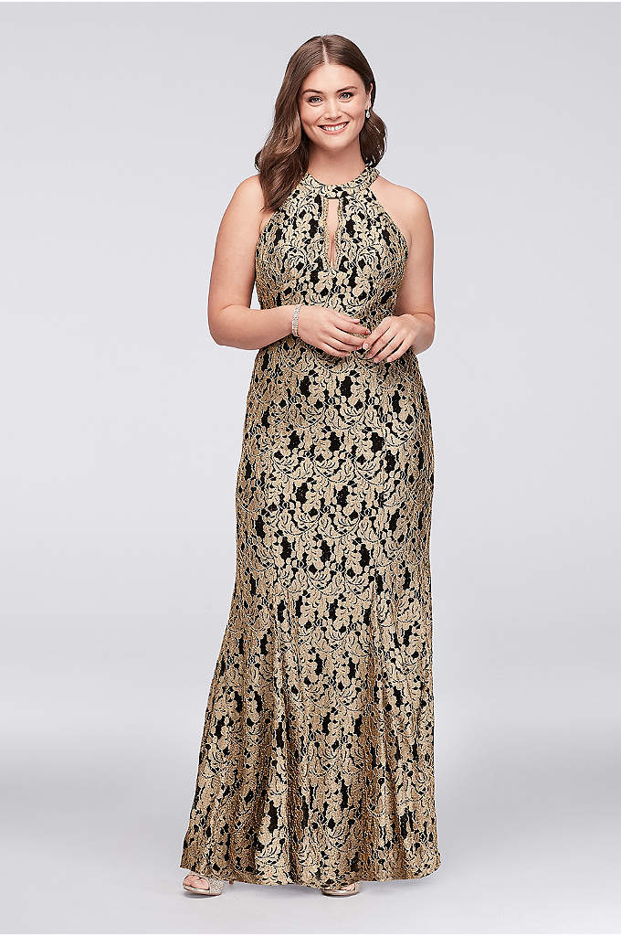 Gold Lace High-Neck Halter Mermaid Plus Size Gown - Glittering gold floral lace laid over a black