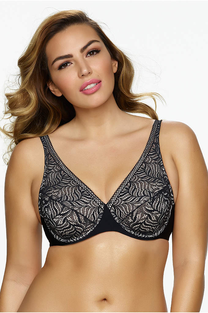 Paramour Carolina Unlined Full Coverage Plunge Bra - Full coverage with beautiful details; this unlined, underwire