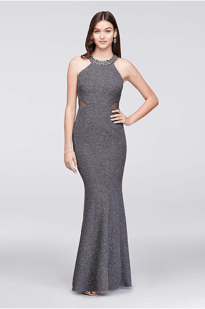 Glitter Knit Mermaid Gown with Jeweled Collar - The puckered glitter fabric of this sleek mermaid