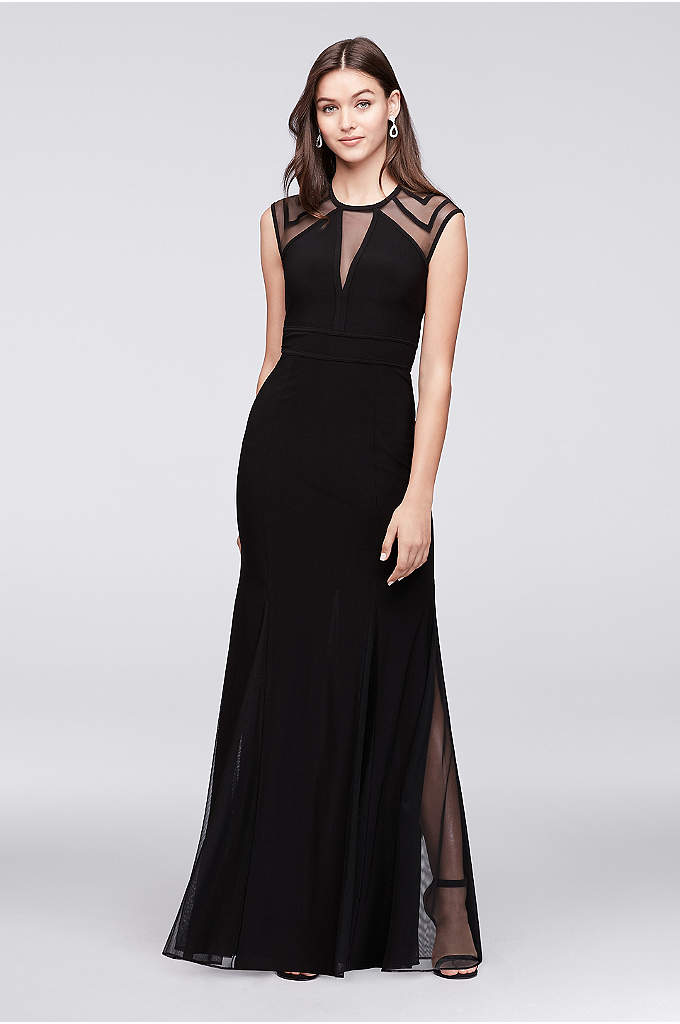 Illusion Jersey Mermaid Gown with Keyhole Back - Add a little va-va-voom to your look with