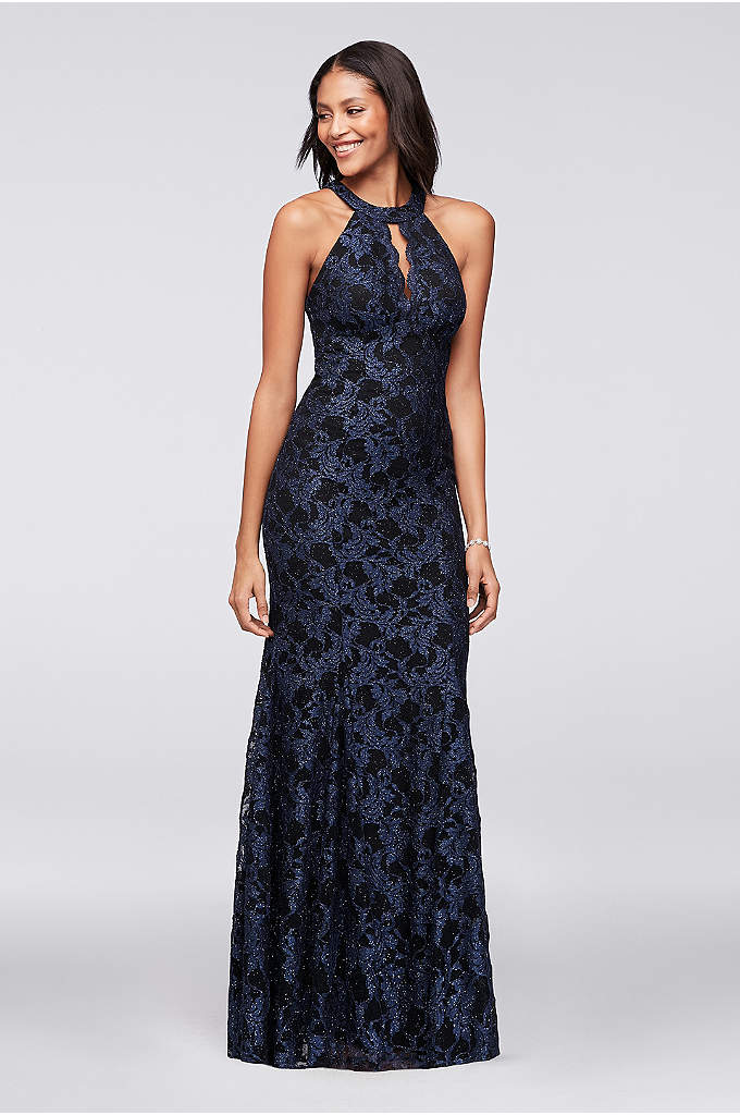 Contrast Glitter Lace Mermaid Gown - Glittering navy floral lace laid over a black