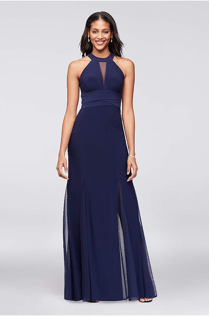 Illusion Keyhole Jersey Gown with Layered Waist - This sophisticated jersey mermaid dress is detailed with