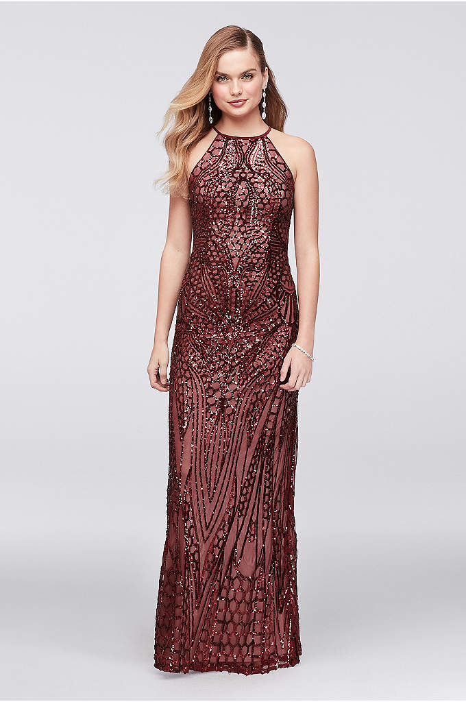 Allover Sequin Crisscross-Back Sheath Gown - Channel your inner mermaid in this slinky high-neck
