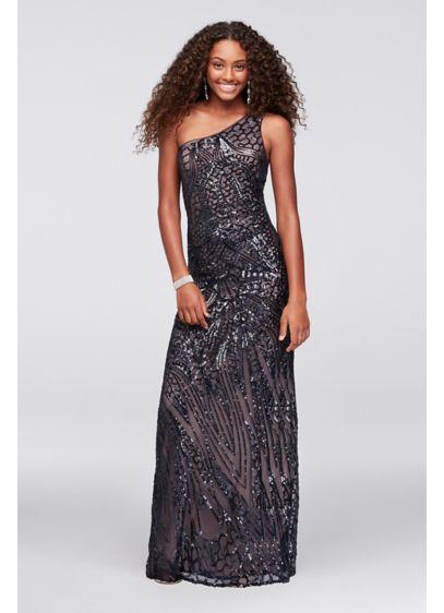 Long Blue Soft & Flowy Nightway Bridesmaid Dress