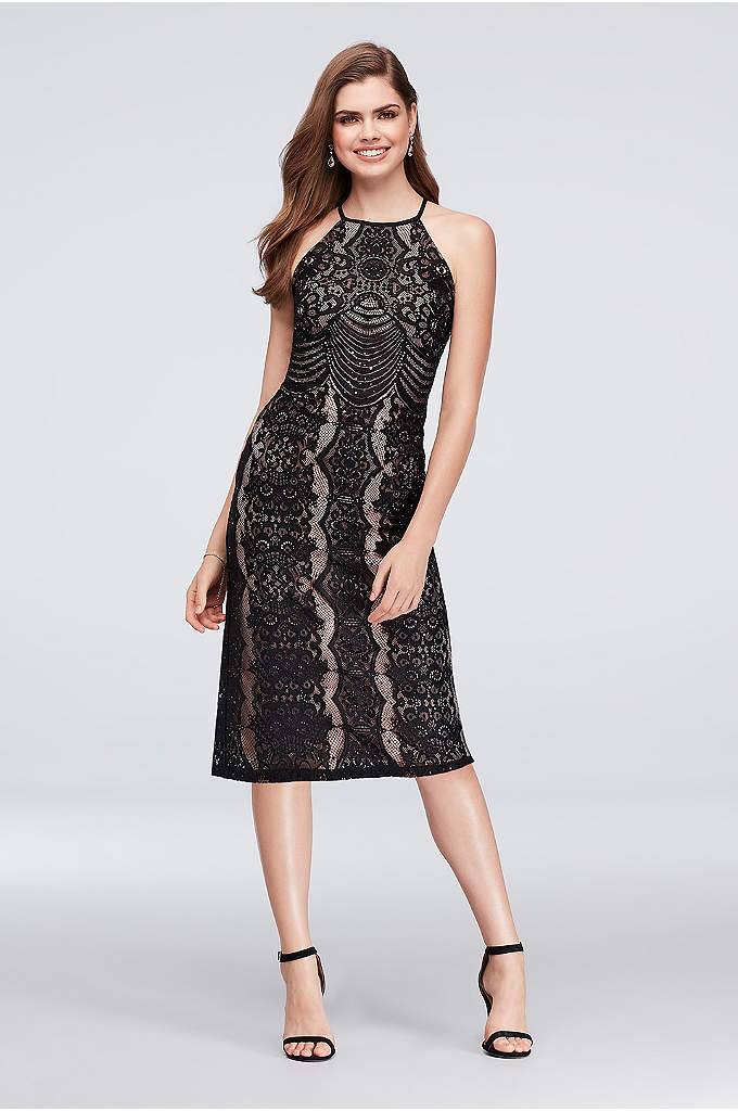 Linear Lace Halter Cocktail Dress with Open Back - Bold black lace layered over a beige lining