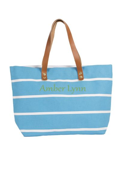 Personalized Striped Tote with Leather Handles - Wedding Gifts & Decorations