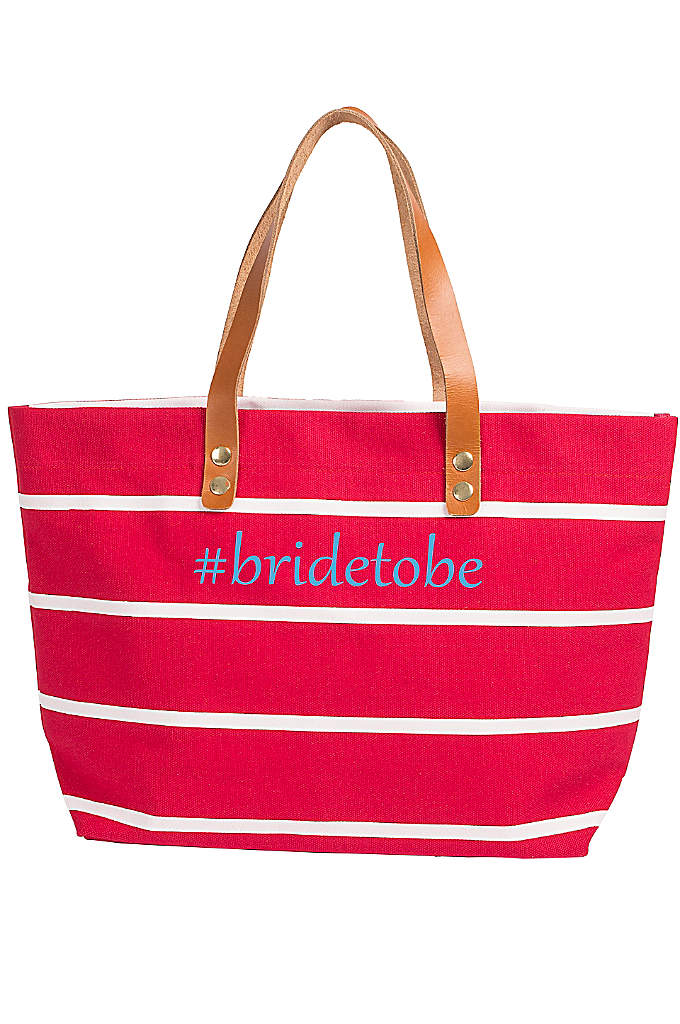 Personalized Striped Tote with Leather Handles - Perfect for the beach or running errands, this