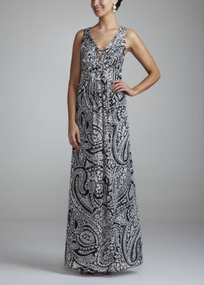 Long Sleeveless Printed Dress with Empire Waist 21704