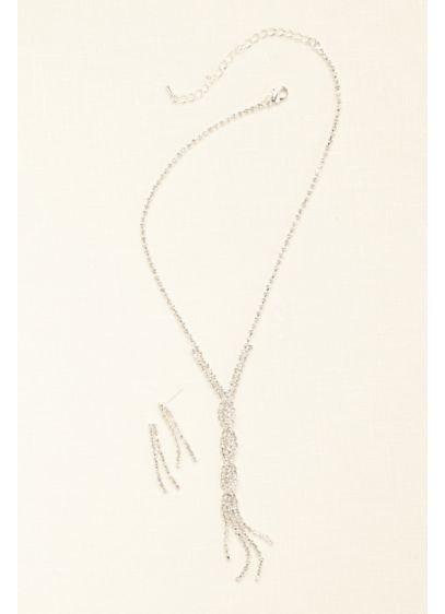 Twisted Crystal Y Necklace and Earring Set - Wedding Accessories