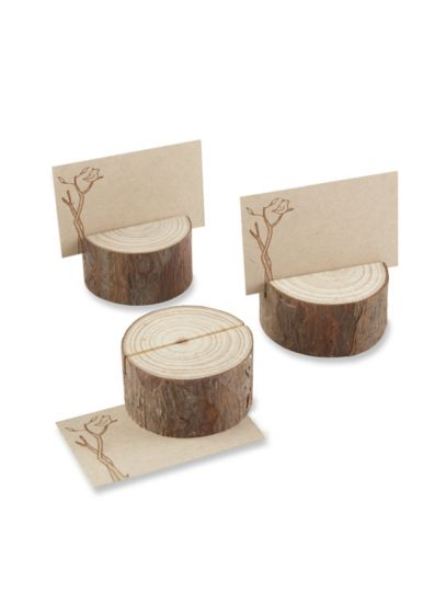 Rustic Wood Place Card Holder Set of 4 - Wedding Gifts & Decorations