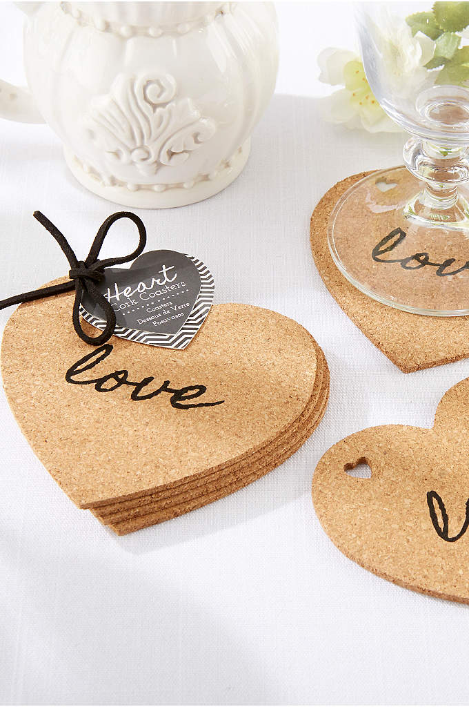 Heart Cork Coasters Set of 4 - When you toast to love, these cork coasters