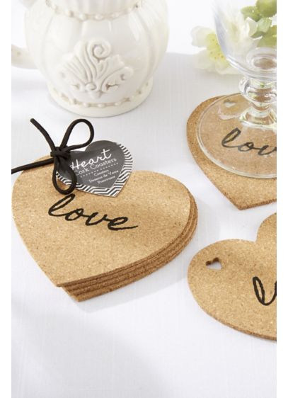 Heart Cork Coasters Set of 4 - Wedding Gifts & Decorations