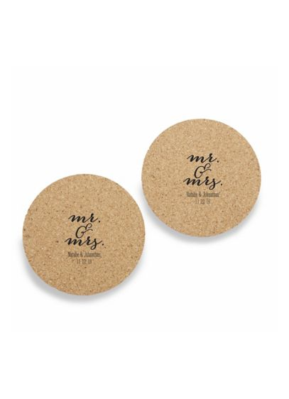 Personalized Mr and Mrs Cork Coasters Set of 12 - Wedding Gifts & Decorations