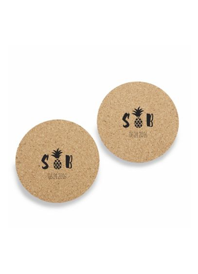 Personalized Palms Cork Coasters Set of 12 - Wedding Gifts & Decorations