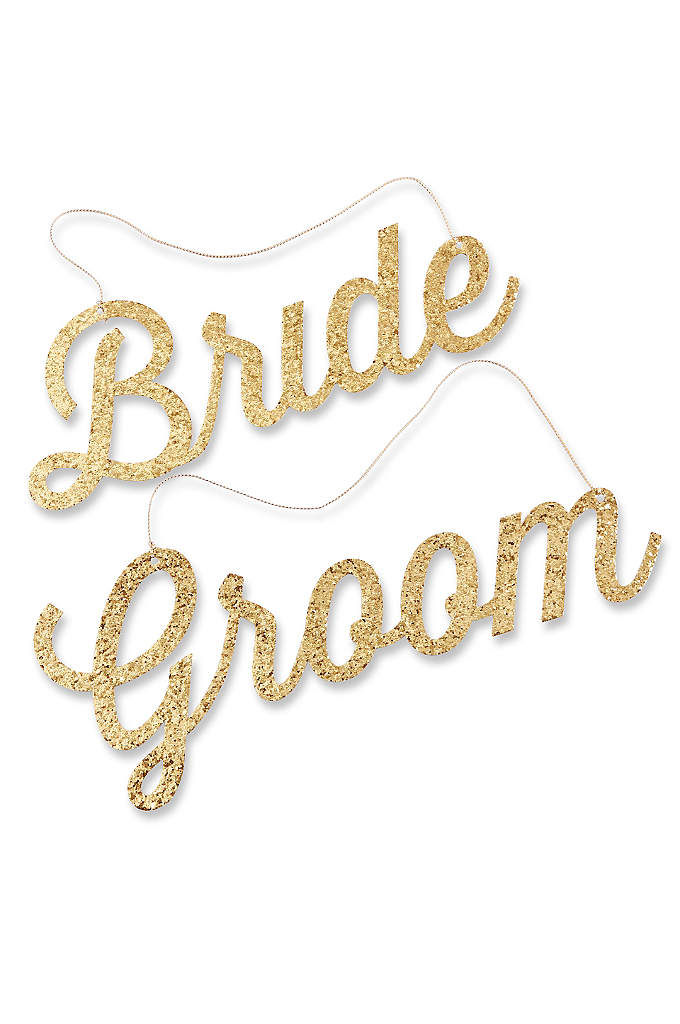 Gold Glitter Bride and Groom Chair Signs - Let your guests know where the couple of