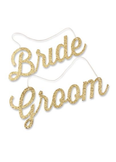Gold Glitter Bride and Groom Chair Signs 22058GD