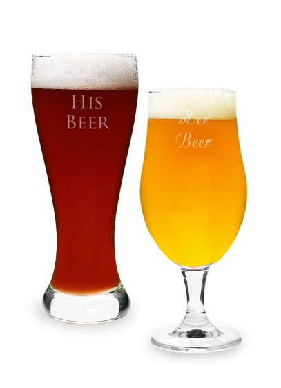 Personalized His and Hers Pilsner Set of 2 - Wedding Gifts & Decorations