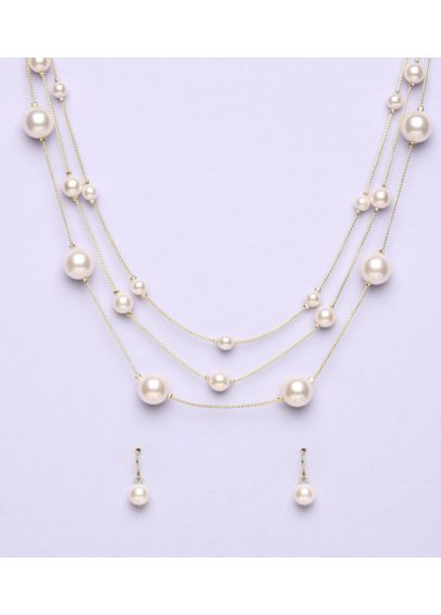 Triple Strand Pearl Illusion Set 22458301