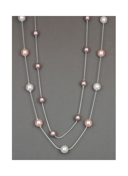 Pink Pearl Two Row Illusion Necklace - Wedding Accessories