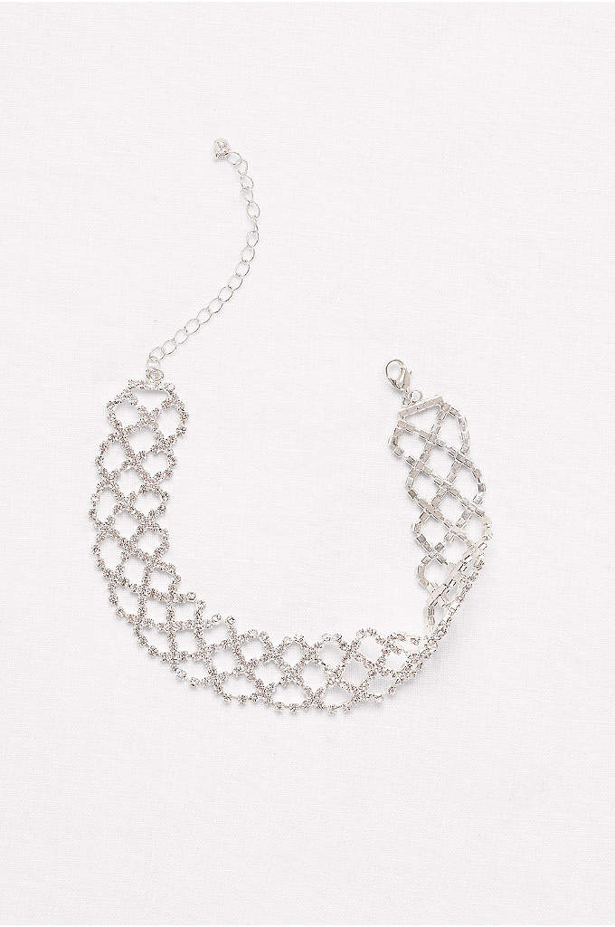 Wide Crisscross Rhinestone Choker - Sparkling rhinestones create a crisscrossing lattice pattern on