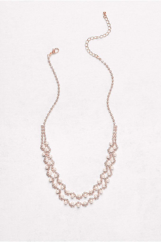 Pearl and Crystal Double-Strand Necklace - Two rows of rhinestone waves are topped with