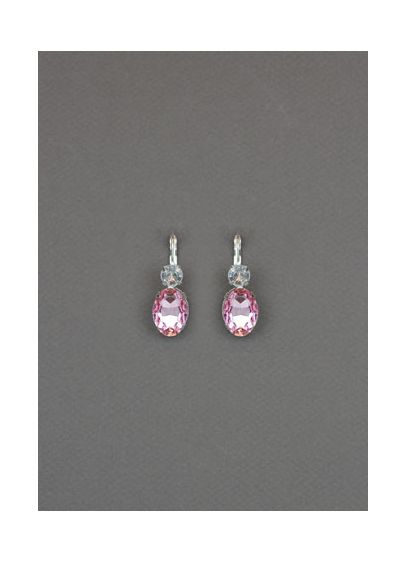 Pink Double Stone Drop Earrings - Wedding Accessories