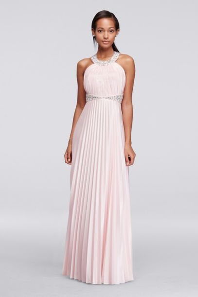 Beaded Strappy Back Halter Prom Dress with Pleats | David's Bridal