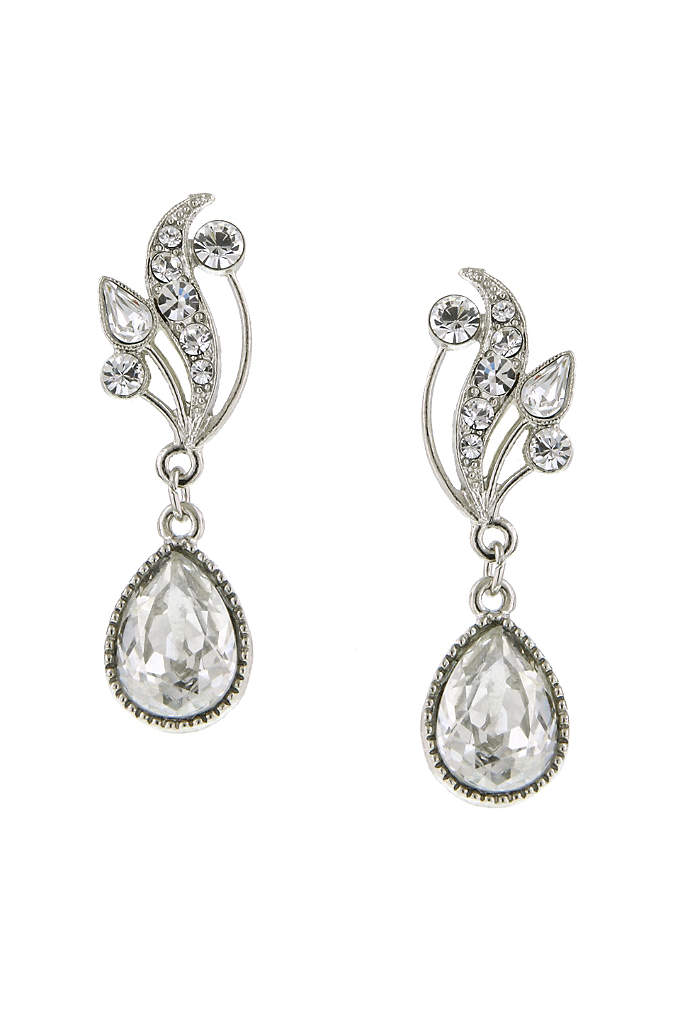 Swarovski Crystal Teardrop Vine Earrings - Vintage glam at it's best. This beautiful sparkling