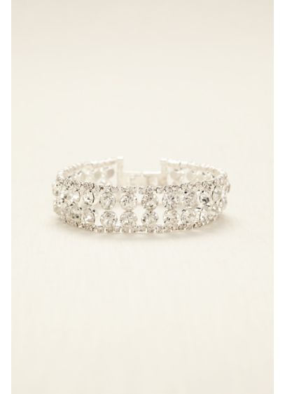 Two Row Solitaire Clasp Bracelet - Wedding Accessories