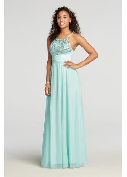 Floor Length Halter Mesh Prom Dress with Beading - Davids