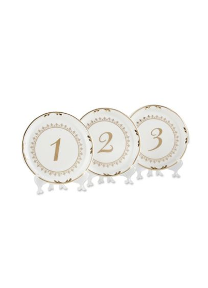 Tea Time Vintage Plate Table Numbers Set of 6 - Wedding Gifts & Decorations