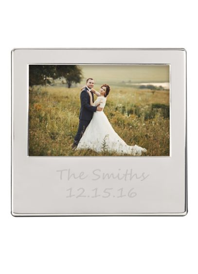 Personalized Engraved Silver Picture Frame - Wedding Gifts & Decorations