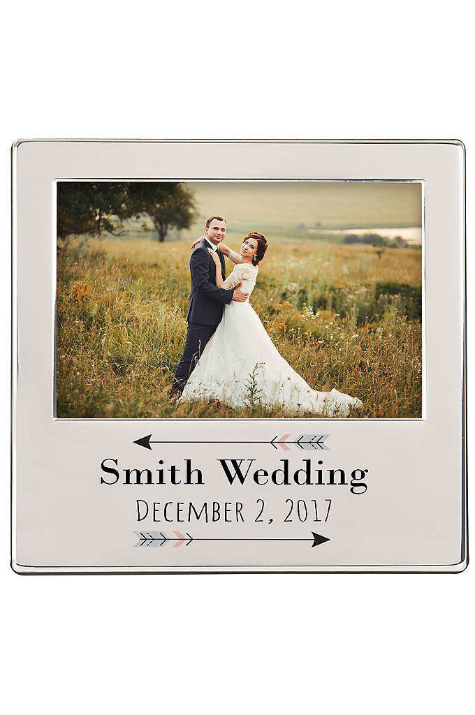 Personalized Arrow Engraved Silver Picture Frame - The Personalized Arrow Engraved Silver Picture Frame features