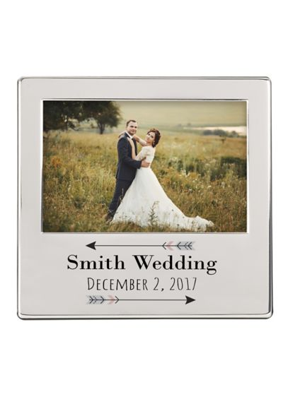Personalized Arrow Engraved Silver Picture Frame - Wedding Gifts & Decorations