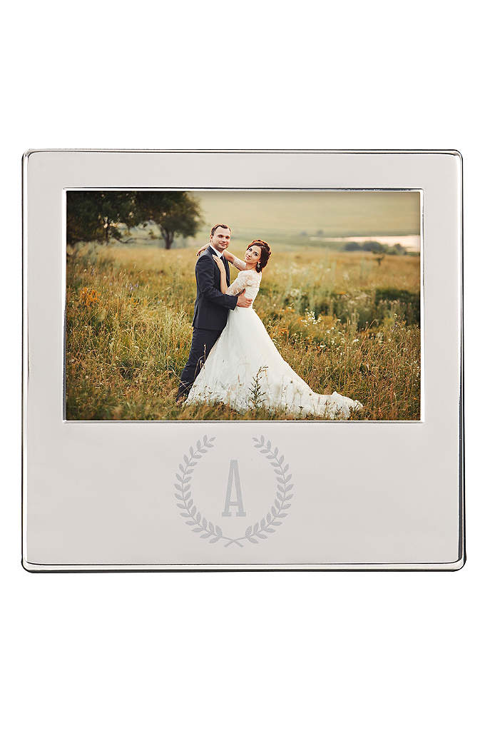 Personalized Wreath Engraved Silver Picture Frame - Exhibit your favorite photos from your wedding day