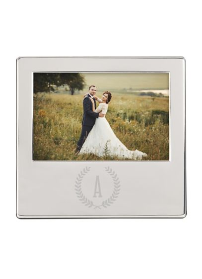 Personalized Wreath Engraved Silver Picture Frame - Wedding Gifts & Decorations